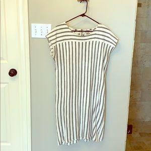 Mystree white/grey stripe shirt dress pockets L
